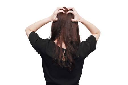 isolated back of stress asian woman photo