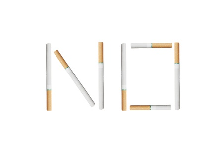 isolated cigarettes spell no in white background photo