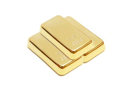 isolated pile of gold bar in white background photo