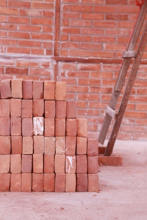 pile of brick in a construction site photo