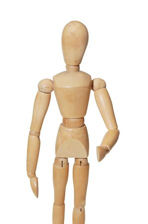 isolated wooden mannequin in shake hand position photo