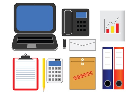 various kind of office supplies in vector Stock Vector - 21777070
