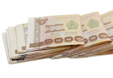 isolated 1000 baht note in white background