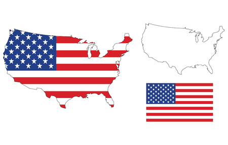 us map: vector of isolated us map with the flag