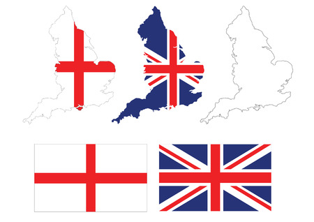 vector of british map with UK flag inside Vector