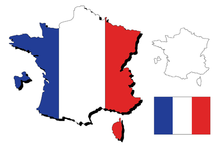 vector of france map with a flag inside Vector