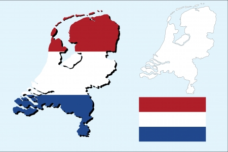 netherlands map with the flag Vector