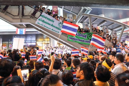 amnesty: BANGKOK,THAILAND- NOVEMBER 4 : Unidentified protesters protest by against the government corruption and the controversial amnesty bill at Silom Rd. on November 4,2013 in Bangkok,Thailand.