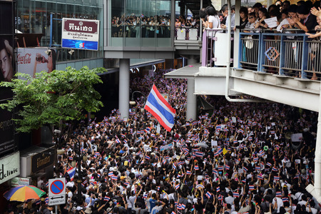 amnesty: BANGKOK,THAILAND- NOVEMBER 6 : Unidentified protesters protest by against the government corruption and the controversial amnesty bill at Silom Rd. on November 6,2013 in Bangkok,Thailand.