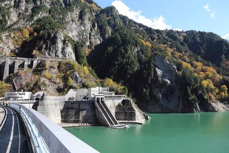 scene of Kurobe dam at Japan Alp