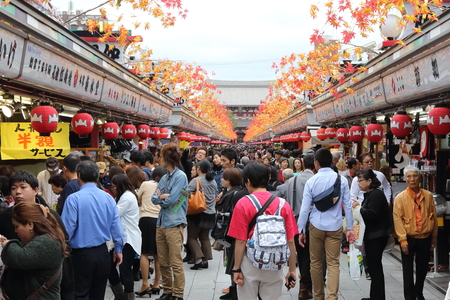 TOKYO -OCT 22   Nakamise shopping street in Asakusa, Tokyo on 22 October 2013 The Senso-ji Buddhist Temple in Asakusa is the most famous temples tokyo for tourist to visit