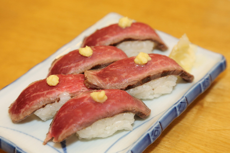 hida beef sushi in takayama japan photo