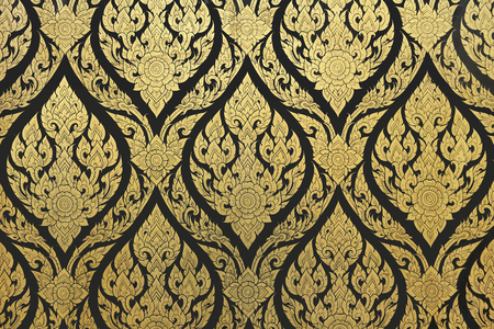 thai style gold painting seamless texture on the temple door 写真素材