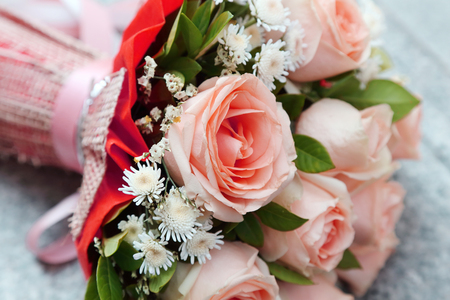 background of bouquet of pink roses photo
