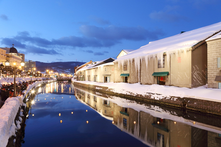 background of otaru canal in japan the winter evenning