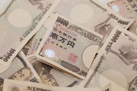 yen note: background of 10000 japanese yen note