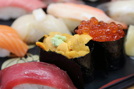 plate of sushi set Stock Photo