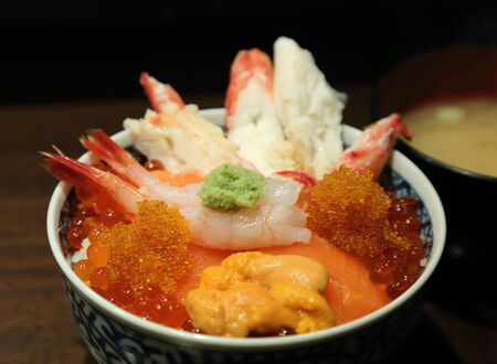kaisen don consists of assorted raw seafood on a bowl Stock Photo - 26085258
