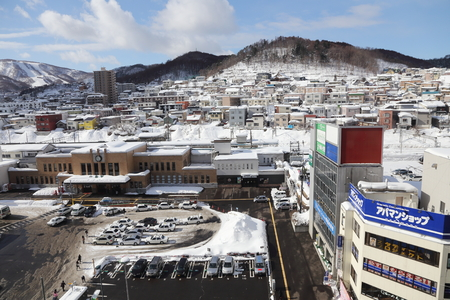 OTARU - FEBRUARY 13 : The aerial view of Otaru  on February 13, 2014 in  Hokkaido Japan. Otaru is a small town for tourists  to come to see the famous otaru canal