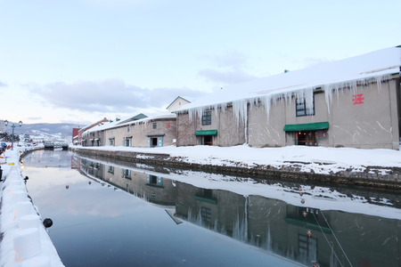 background of otaru canal in japan the winter evenning photo