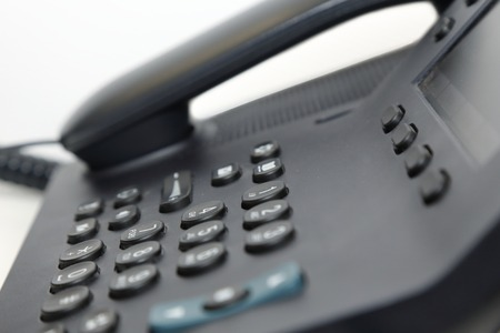 isolated office phone in white background photo