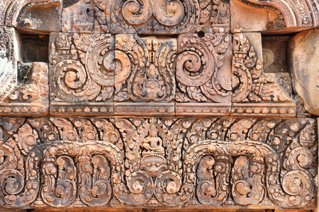 handscraft: detail of carvings in angkor thom cambodia