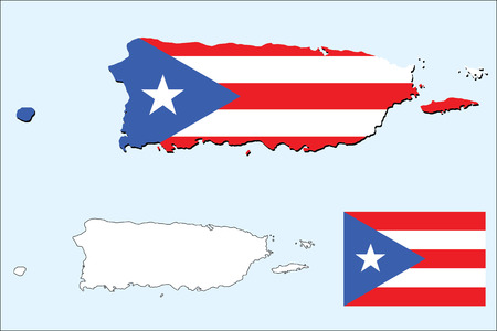 puerto rican flag: vector of puerto rico map with flag Illustration
