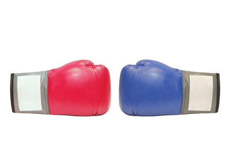 isolated blue and red boxing gloves in white background photo