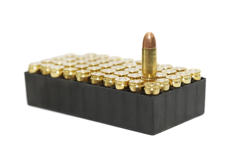 9mm: isolated 9 mm bullets on  white background
