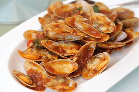 stir fried  surf clam in chinese style photo