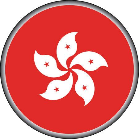vector button of hong kong flag badge Vector