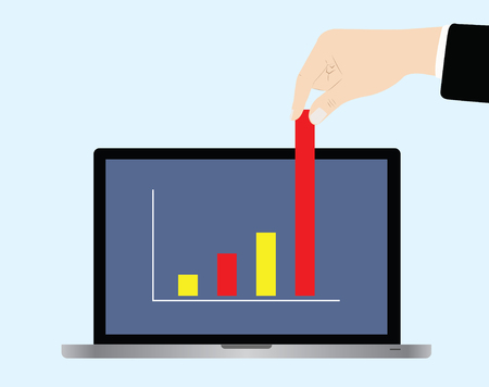 business hand: vector of business hand picking up bar chart Illustration