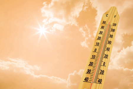 hotter: hot sky weather with the thermometer Stock Photo
