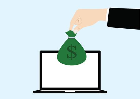 pick money: vector de la mano de negocios recoger dinero de ordenador port�til