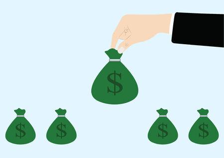 hand holding money bag: vector of business hand picking up money bag Illustration