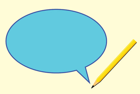 vector of yellow quote bubble with talking pencil Vector