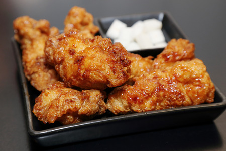 korean fried chicken in a plate