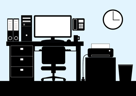 vector bw cartoon of office table with computer and printer Vector