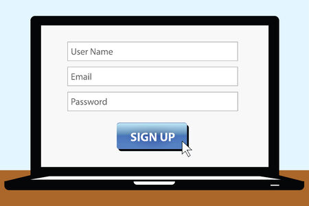 vector of sign up page on the laptop screen Vector