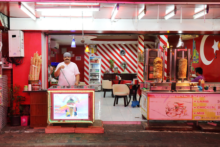 brothel: PATTAYA, THAILAND - DECEMBER 13:turkish icecream shop in the Walking Street  in Pattaya on December 13, 2014 . Walking Street is a popular tourist attraction in pattaya