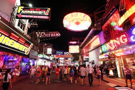 PATTAYA, THAILAND - DECEMBER 13: Unidentified tourist walk through the Walking Street  in Pattaya on December 13, 2014 . Walking Street is a popular tourist attraction in pattaya Editorial