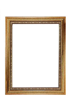 isolated gold vintage photo frame in white background Stock Photo
