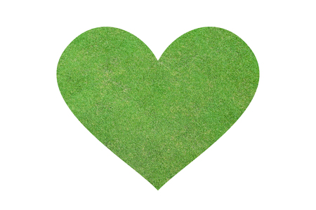 isolated green grass field in heart  shape photo