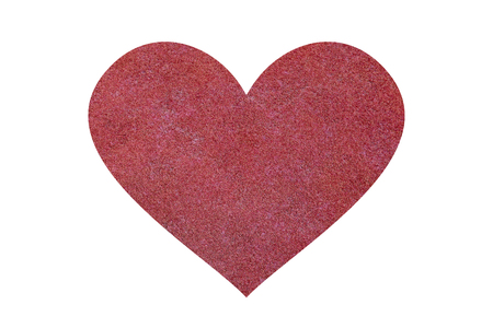 isolated red grass field in heart  shape photo