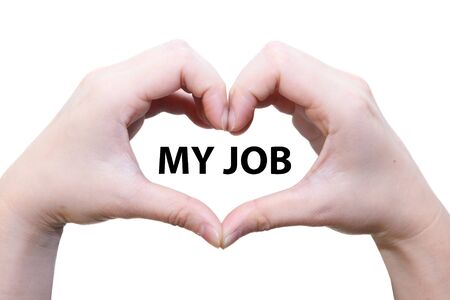isolated female hand love my job photo