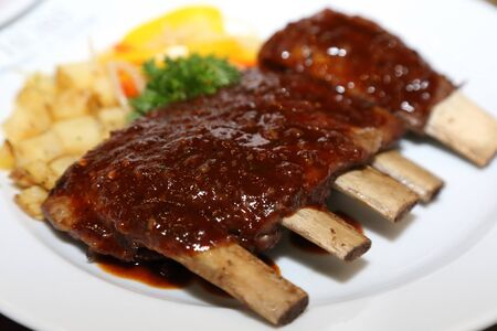 bbq ribs on a plate photo