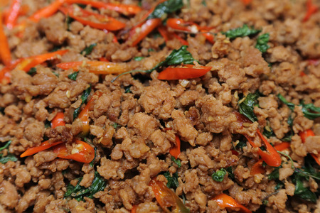 background of stir fried minced pork and basil photo