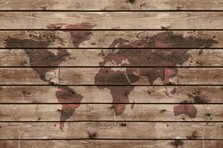 old rustic map: old wood texture with world map  in vintage style Stock Photo