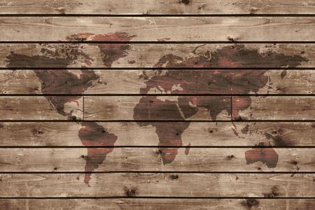 camarote: textura de madera vieja con mapa del mundo en estilo vintage