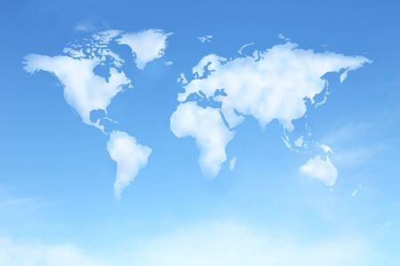 background of clear blue sky with world map in clound shape Stock Photo